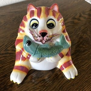 "Bella Casa Cat Piggy Bank ""Charlie"" Tabby Cat Fish"
